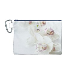 Orchids Flowers White Background Canvas Cosmetic Bag (M)