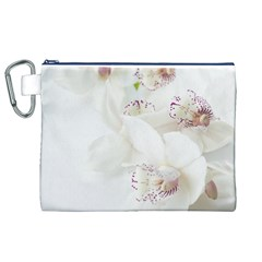 Orchids Flowers White Background Canvas Cosmetic Bag (xl)