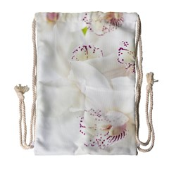 Orchids Flowers White Background Drawstring Bag (Large)