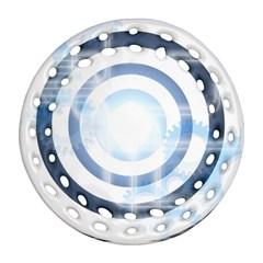 Center Centered Gears Visor Target Round Filigree Ornament (Two Sides)