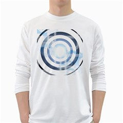 Center Centered Gears Visor Target White Long Sleeve T Shirts