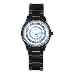 Center Centered Gears Visor Target Stainless Steel Round Watch