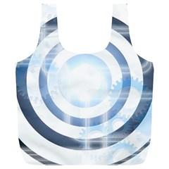 Center Centered Gears Visor Target Full Print Recycle Bags (L)