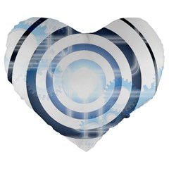 Center Centered Gears Visor Target Large 19  Premium Flano Heart Shape Cushions