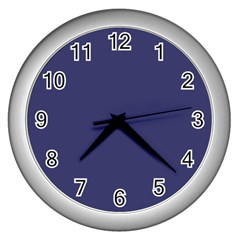 Usa Flag Blue Royal Blue Deep Blue Wall Clocks (silver)