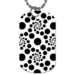 Dot Dots Round Black And White Dog Tag (two Sides)