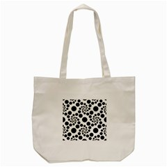 Dot Dots Round Black And White Tote Bag (Cream)