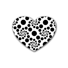 Dot Dots Round Black And White Rubber Coaster (heart)