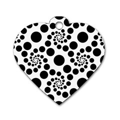 Dot Dots Round Black And White Dog Tag Heart (One Side)