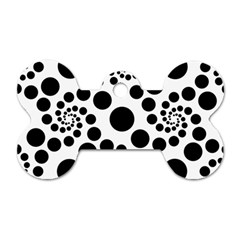 Dot Dots Round Black And White Dog Tag Bone (one Side)