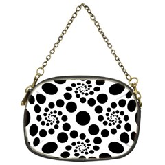 Dot Dots Round Black And White Chain Purses (one Side)