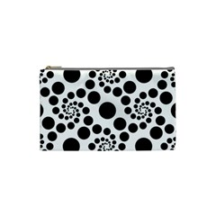 Dot Dots Round Black And White Cosmetic Bag (Small)