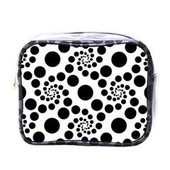 Dot Dots Round Black And White Mini Toiletries Bags