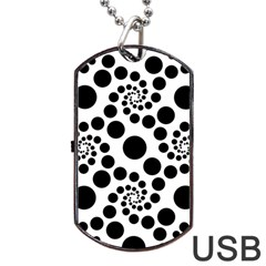 Dot Dots Round Black And White Dog Tag USB Flash (One Side)