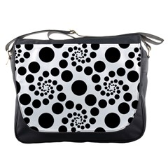 Dot Dots Round Black And White Messenger Bags