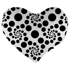 Dot Dots Round Black And White Large 19  Premium Heart Shape Cushions