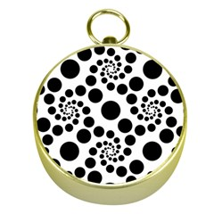 Dot Dots Round Black And White Gold Compasses