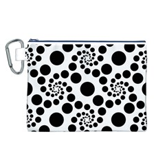 Dot Dots Round Black And White Canvas Cosmetic Bag (L)