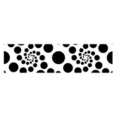 Dot Dots Round Black And White Satin Scarf (Oblong)
