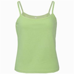 Solid Snow White Christmas Color Green Spaghetti Tank