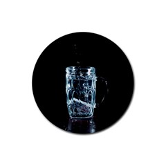 Glass Water Liquid Background Rubber Round Coaster (4 pack)