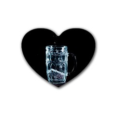 Glass Water Liquid Background Heart Coaster (4 Pack)