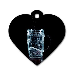 Glass Water Liquid Background Dog Tag Heart (one Side)