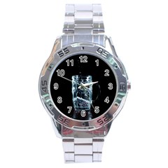 Glass Water Liquid Background Stainless Steel Analogue Watch