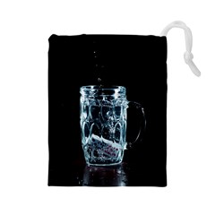 Glass Water Liquid Background Drawstring Pouches (Large)