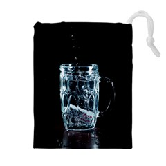 Glass Water Liquid Background Drawstring Pouches (Extra Large)