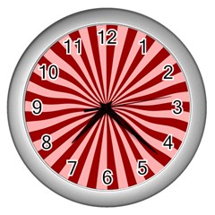 Sun Background Optics Channel Red Wall Clocks (silver)