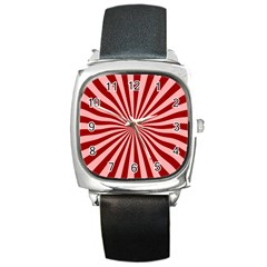 Sun Background Optics Channel Red Square Metal Watch