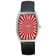Sun Background Optics Channel Red Barrel Style Metal Watch