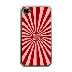 Sun Background Optics Channel Red Apple iPhone 4 Case (Clear)