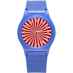 Sun Background Optics Channel Red Round Plastic Sport Watch (s)