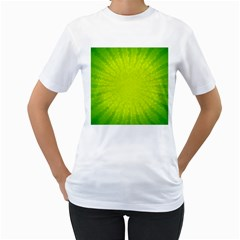 Radial Green Crystals Crystallize Women s T Shirt (white) (two Sided)