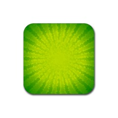 Radial Green Crystals Crystallize Rubber Square Coaster (4 pack)