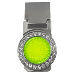 Radial Green Crystals Crystallize Money Clips (cz)