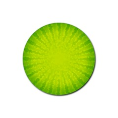 Radial Green Crystals Crystallize Rubber Round Coaster (4 pack)