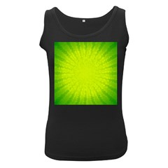 Radial Green Crystals Crystallize Women s Black Tank Top