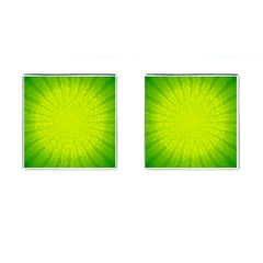 Radial Green Crystals Crystallize Cufflinks (Square)