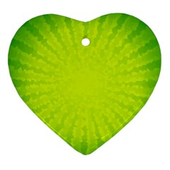 Radial Green Crystals Crystallize Heart Ornament (two Sides)