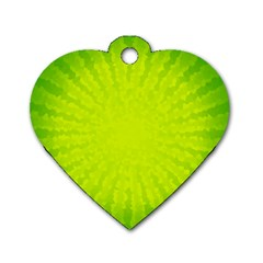 Radial Green Crystals Crystallize Dog Tag Heart (two Sides)