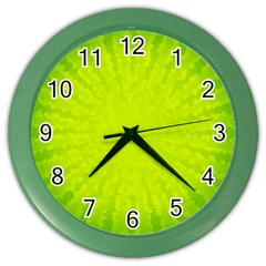 Radial Green Crystals Crystallize Color Wall Clocks