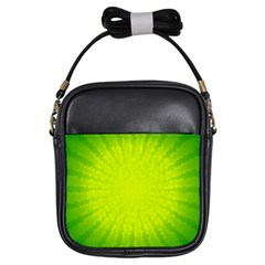 Radial Green Crystals Crystallize Girls Sling Bags