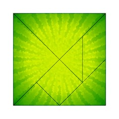 Radial Green Crystals Crystallize Acrylic Tangram Puzzle (6  X 6 )