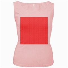 Christmas Red Velvet Mini Gingham Check Plaid Women s Pink Tank Top