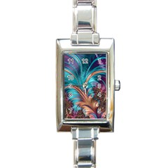 Feather Fractal Artistic Design Rectangle Italian Charm Watch