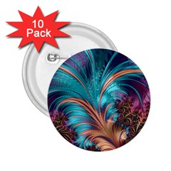 Feather Fractal Artistic Design 2 25  Buttons (10 Pack)