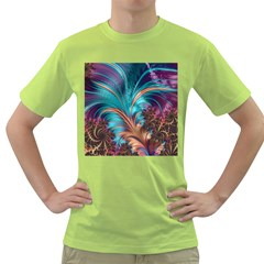 Feather Fractal Artistic Design Green T Shirt